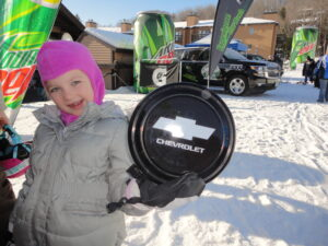 Girl Holds Chevy Frisbee!
